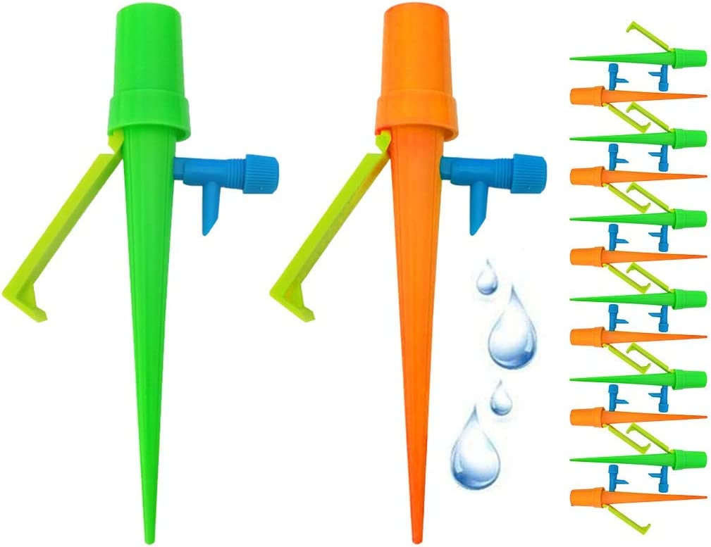 FTT 12 Pack Self Watering Spikes, Plant Self Watering Devices, Drip Irrigation Plant Waterer with Slow Release Control Valve Switch, Self Irrigation Watering Drip Devices Suitable for All Bottle