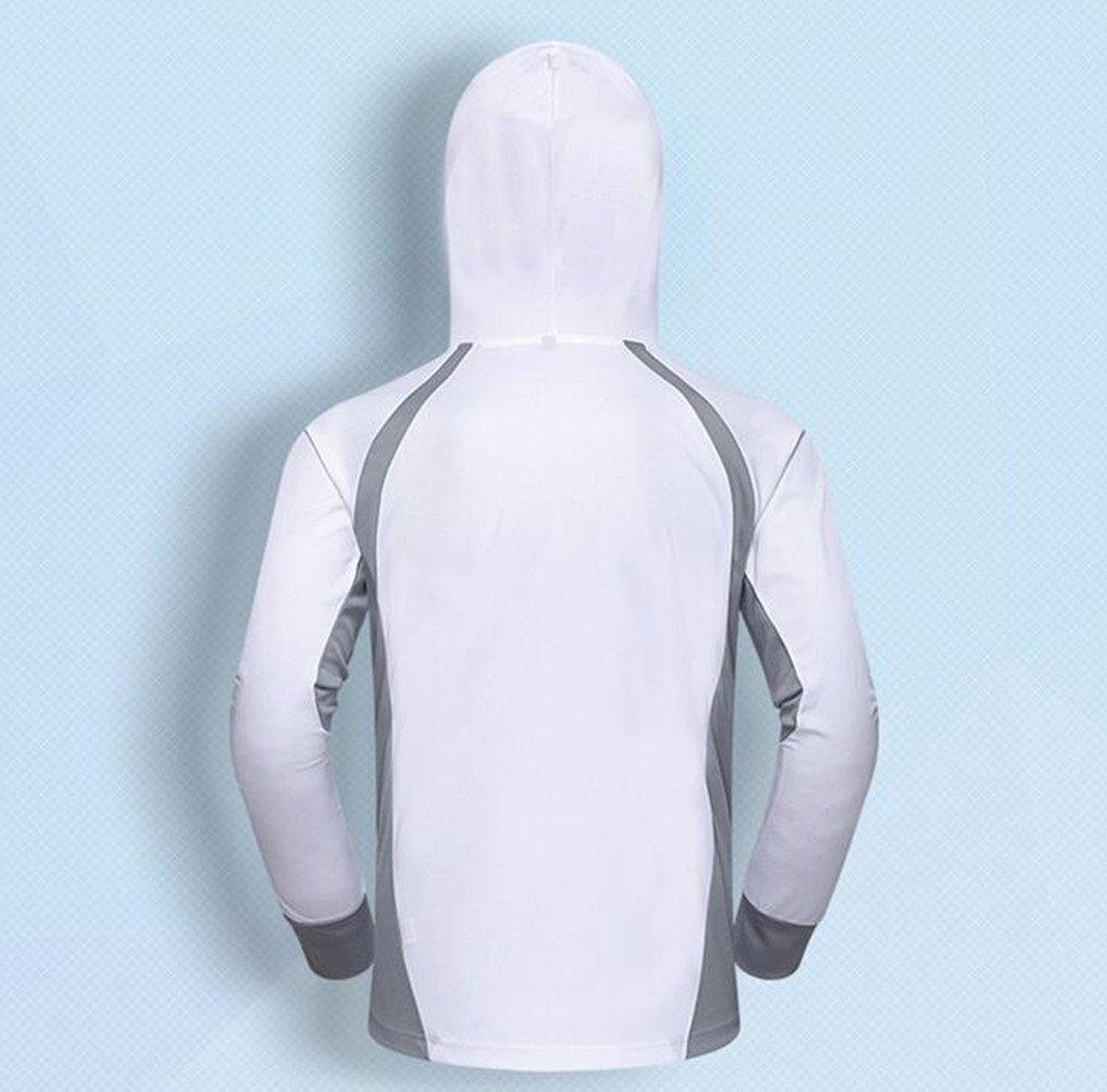 Qi Mai Men Outdoor Sunscreen Fishing Coats Quick Drying Rash Guards 1197 (L, White) by Qi Mai (Image #3)