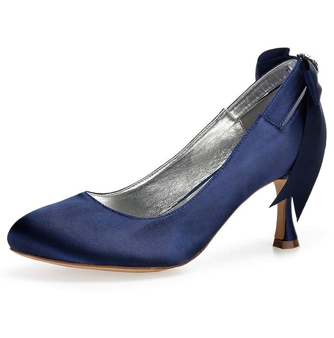 c7606079 SERAPH 17061-64 Zapatos de boda tacón alto con punta cerrada para mujeres  zapatos de novia de satén con Lazo / 7 cm talón: Amazon.es: Ropa y  accesorios