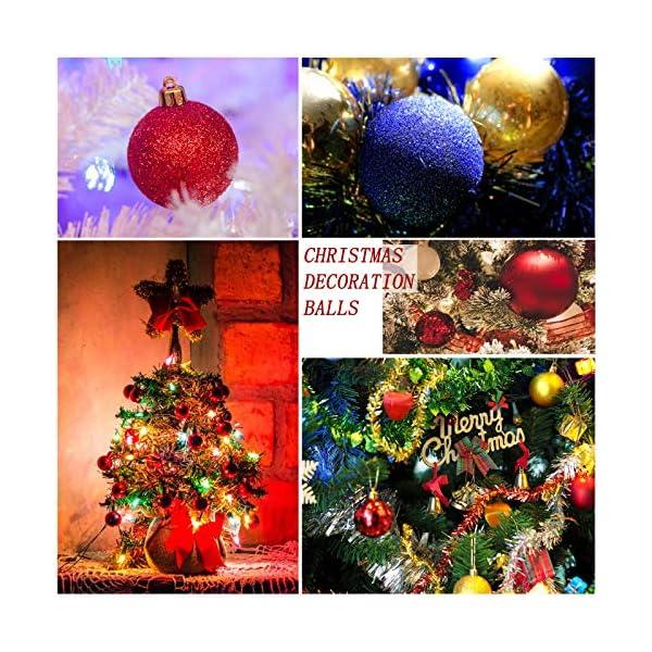 Yisscen Palle di Natale Decorazioni per Alberi, Palle per Alberi di Natale, Palle Decorative Natalizie, Palline Decorative Luccicanti opache e Lucide, per Decorazioni Feste, 24 Pezzi (Rosa Rossa) 6 spesavip