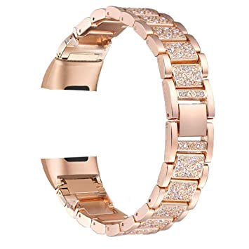 FitTurn for Fitbit Charge 3 Bands, Bling Bling Crystal Stainless Steel  Solid Metal Adjustable Replacement Watch Band Wristband Strap Bracelet for