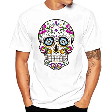 a8661a4f6defc3 T-Shirt - Manches Courtes - Covermason Hommes Skull 3D Impression T-Shirts  Col