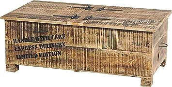 magasin en ligne 2ab4b 15b9e Table basse coffre industrielle acacia métal: Amazon.fr ...