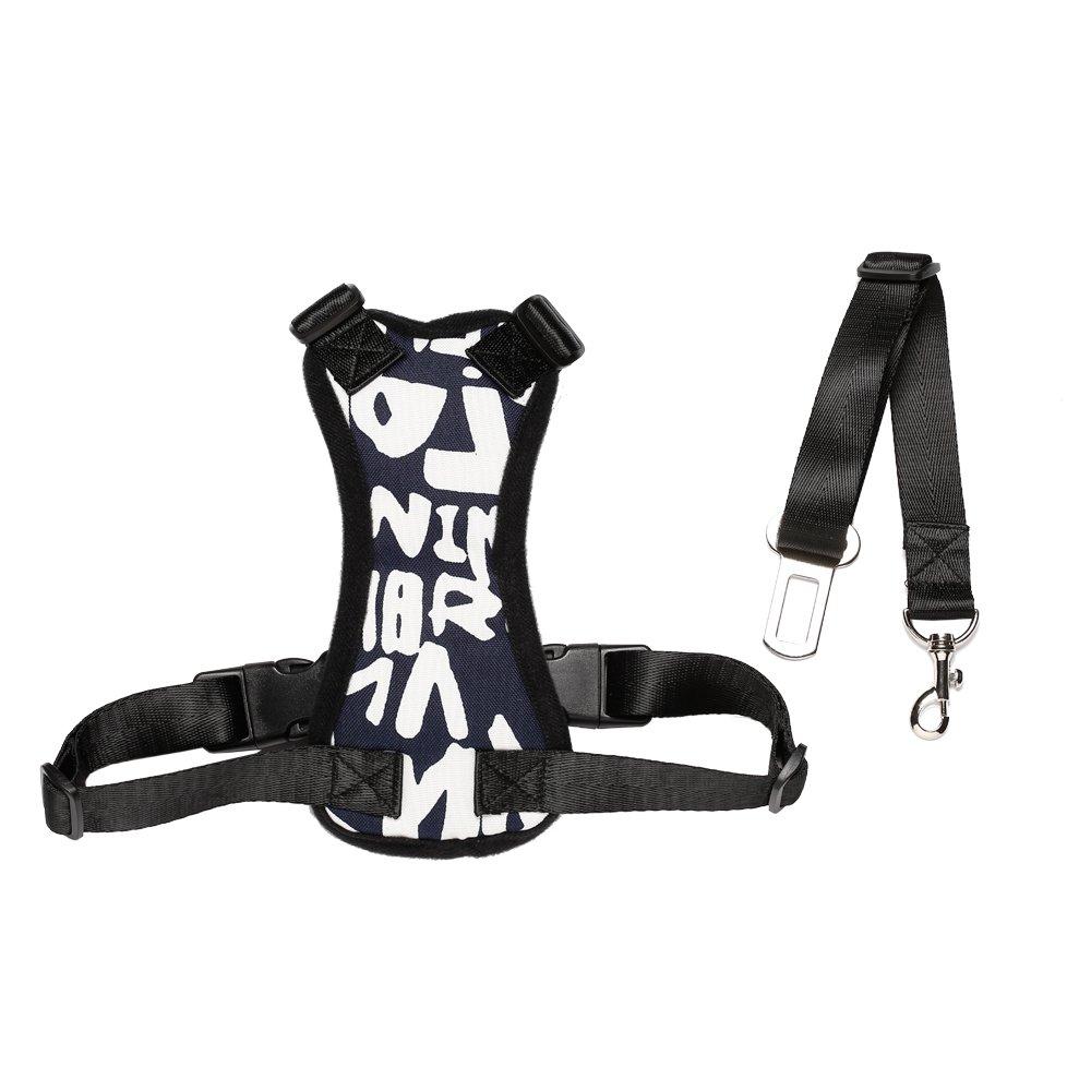 HANCIN Cat Car Harness Vest with Adjustable Seat Belt for Car, Medium Size