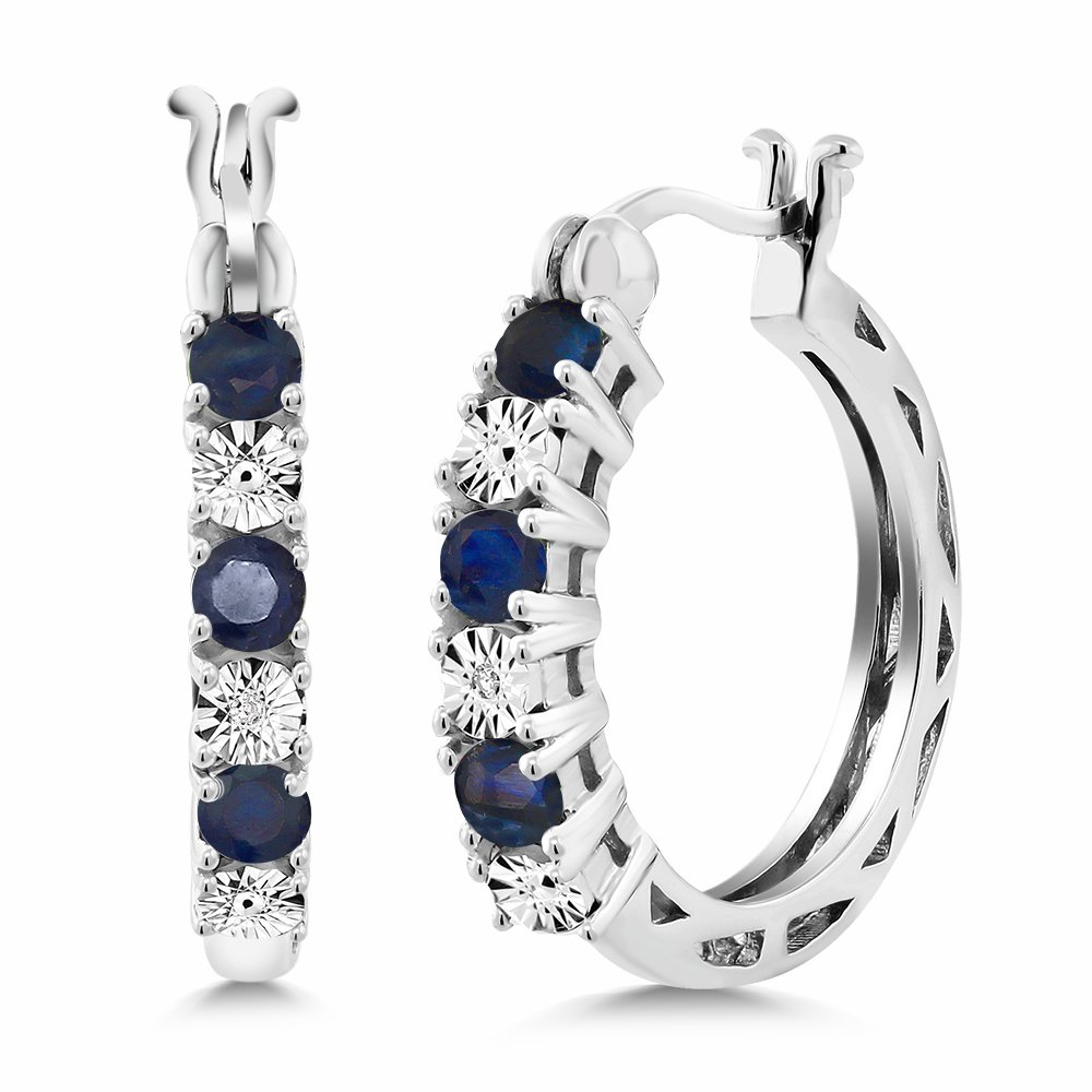 Gem Stone King 925 Sterling Silver Blue Sapphire and White Diamond Accent Women's Hoop Earrings (0.83 Cttw, 22MM = 0.85 Inches Diameter) by Gem Stone King