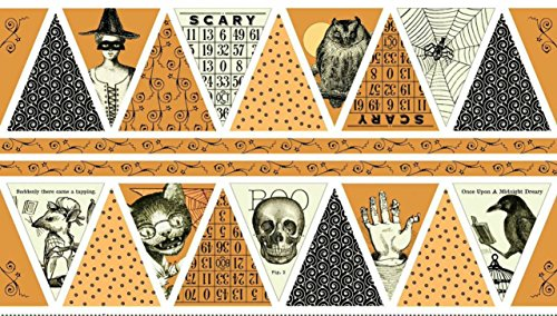 Quilting Treasures 'Sew Scary' Pumpkin Bunting Panel Halloween Cotton Fabric (Halloween Panels For Quilting)