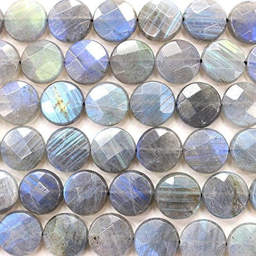 Faceted Natural color labradorite Coin Gemstone Loose Beads for DIY Jewelry Making (Labradorite Faceted Coin Beads)