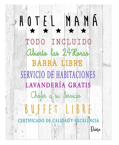 DCine Cuadro Decorativo/Frases positivas/sobre Madera/Regalo/Normas del hogar 19 cm x 25 cm x 4 mm/Madera (Hotel Mama)