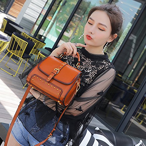 Dark Leather Pink Red Bag Wine Women's White B Black Retro Bags Handbag Brown Real Green Shoulder Fashion Crossbody wqA00XxP