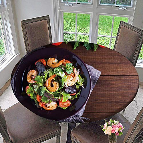 (PINAFORE HOME Circular Table Cover Salad Plate with Shrimp Tomato and Mixed Greens arugula mesclun Mache for Wedding/Banquet 35.5