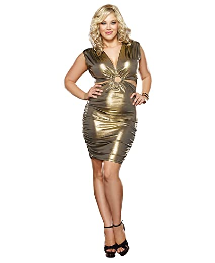 Amazon Dreamgirl 9371x Womens Plus Size Gold Rush Cut Out Club