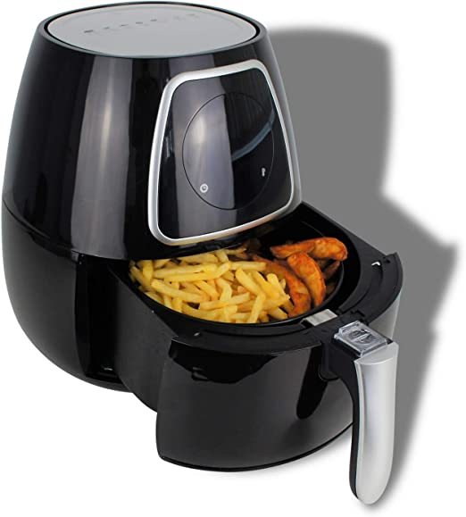 Freidora de aire caliente, freidora sin grasa con 7 programas automáticos, fácil de limpiar, 2,8 litros, 1300 W, pantalla táctil, color negro: Amazon.es: Hogar