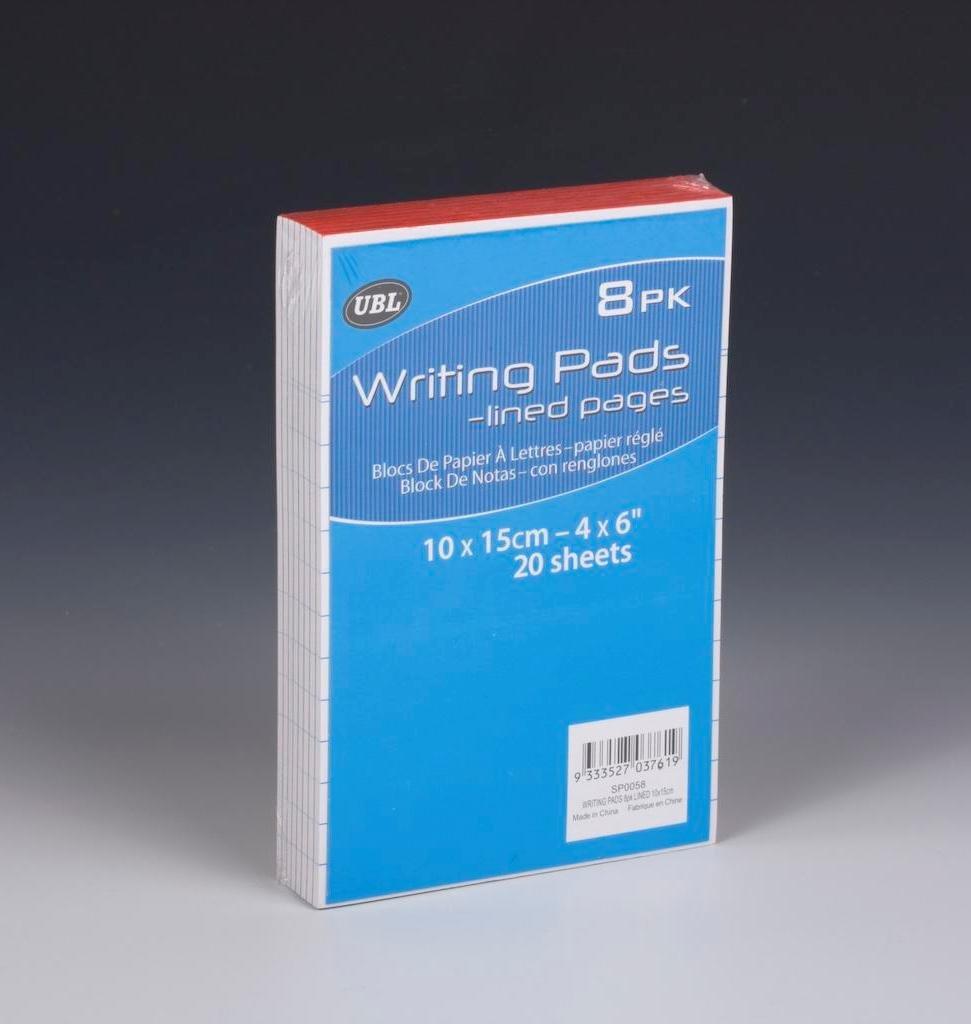 Writing Pad 10cm x 15cm 20sheet Confezione da 8a righe (SP0058) CSL