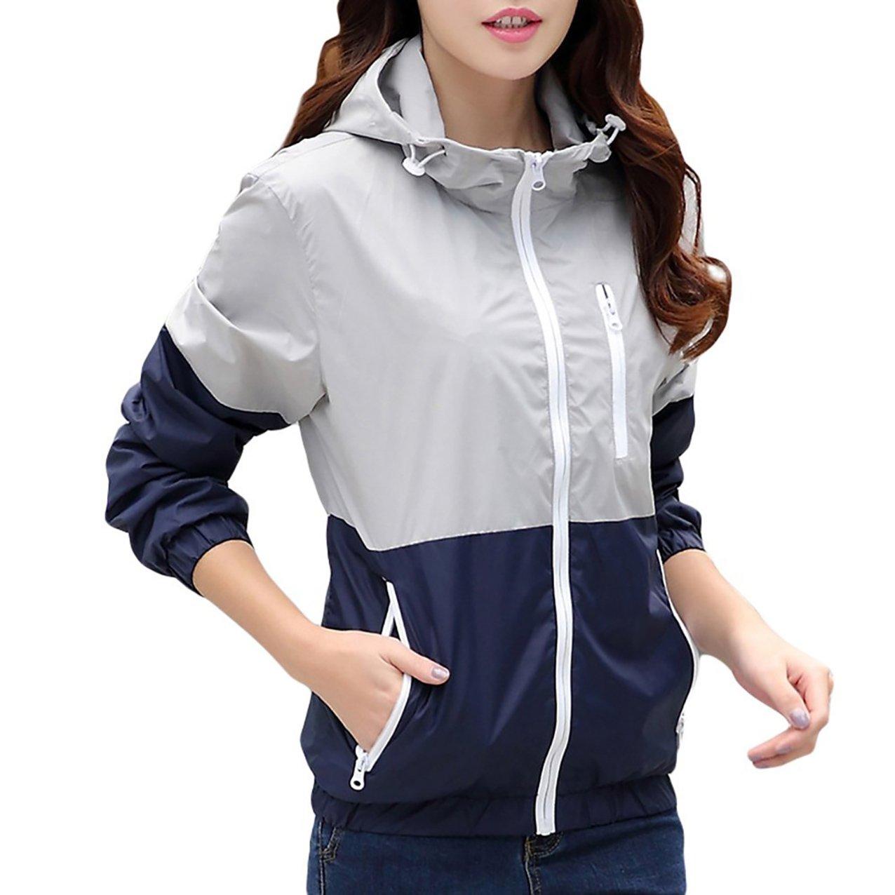 Nantersan Womens Light Weight Outdoor Hooded Windbreaker Sports Outwear Jacket