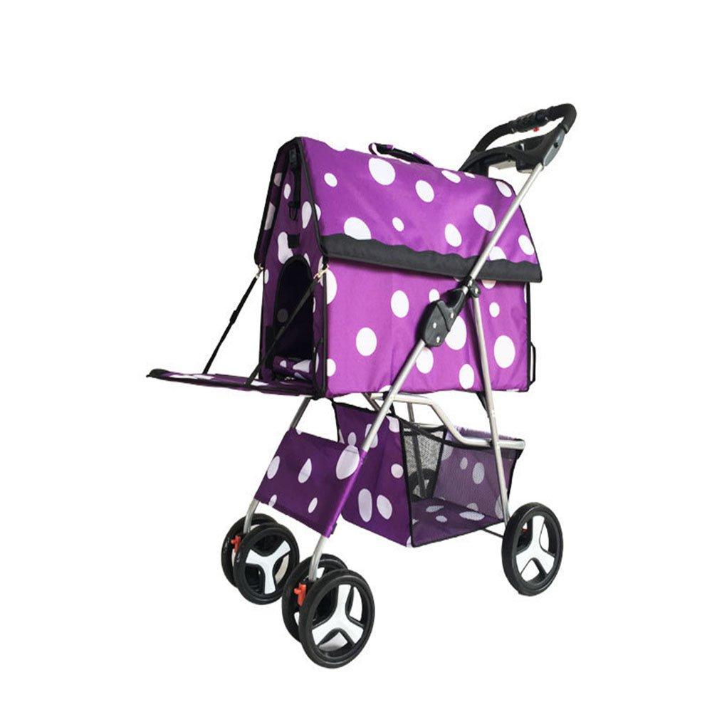 Four Wheel Pet Stroller,Cat Dog Stroller Travel Folding Carrier Cup Holder Storage Basket