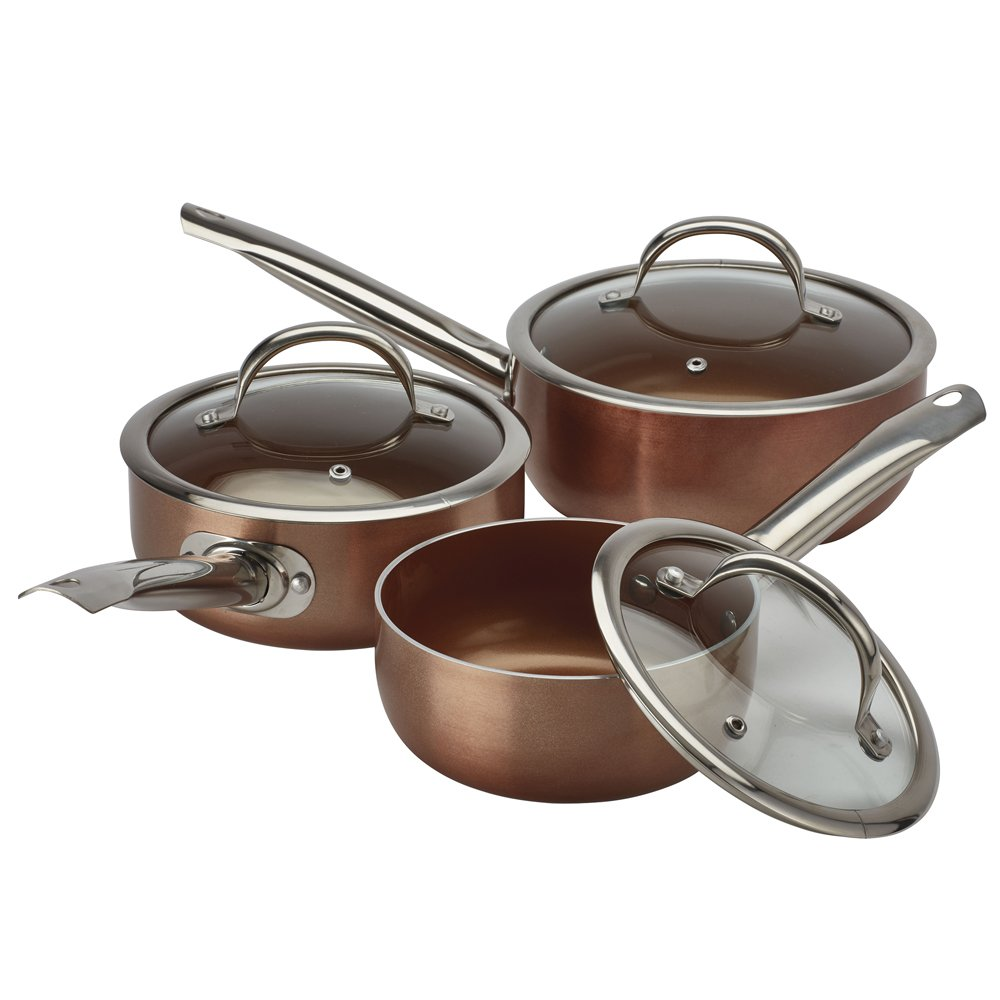 Cooks Professional Non Stick Ceramic Saucepan Set 3 Piece Light-Weight Double Layered Gas, Electric, Induction & Ceramic Hob Compatible (2 Piece Frying Pan Set, Copper Interior/Copper Exterior) Clifford James