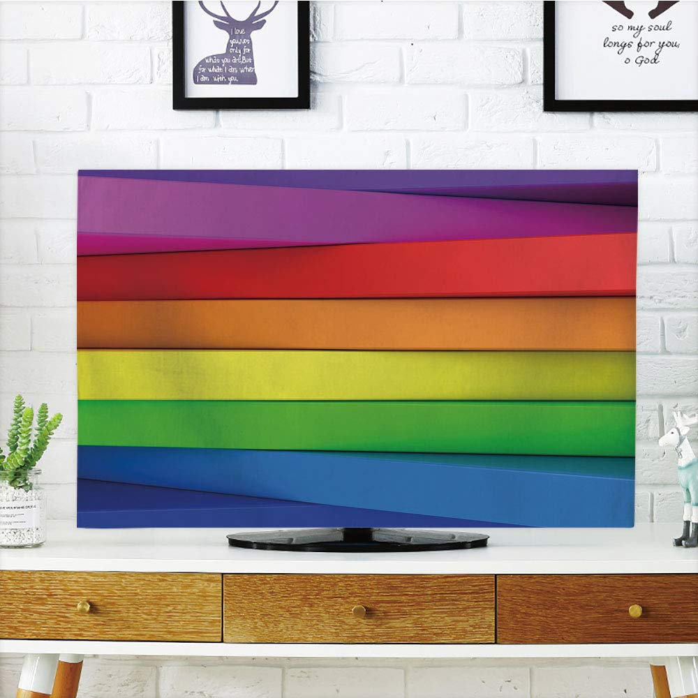 LCD TV Cover Lovely,Rainbow,3D Stacked Panels with Colors of a Rainbow Computer Generated Artwork Vibrant Tones,Multicolor,Diversified Design Compatible 55'' TV