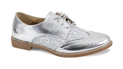 8fba674c6975c By Shoes - Derbies avec Dentelle Bi Matière - Femme - Taille 37 - Silver