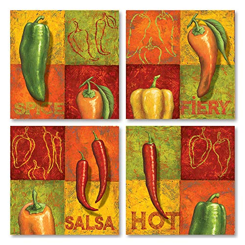 (Gango Home Decor Classic Chili Prints; Perfect to Spruce up Your Kitchen! Set of Four 8x8 Mini Prints)