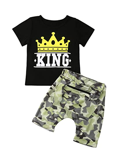 1e2d48ef3b3a Amazon.com  2PCS Fashion Baby Boy King Print Crown Pattern Short ...