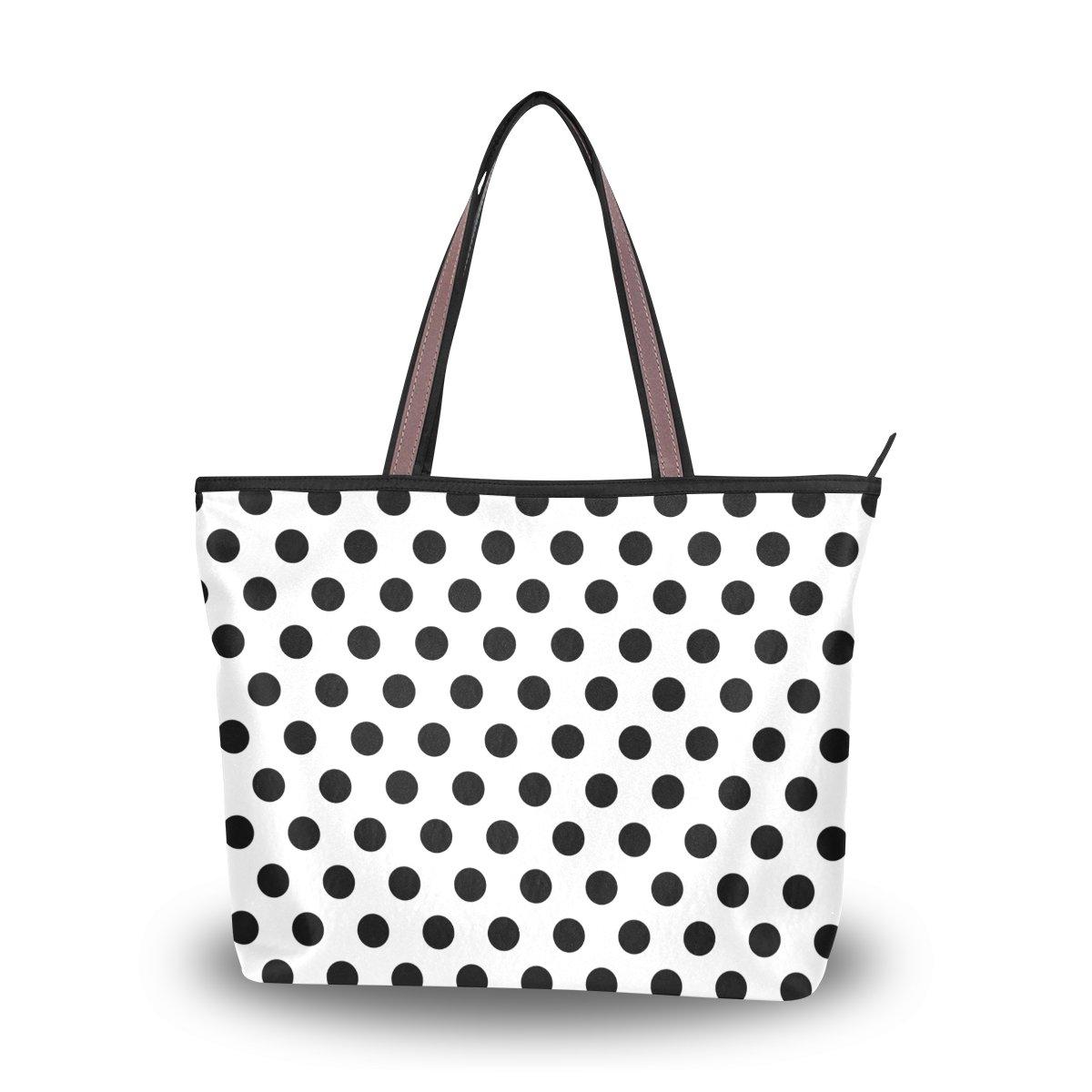 imobaby Seamless Black And White Dots Pattern Women Large Tote Shoulder BagsTop Handle Handbag TE121