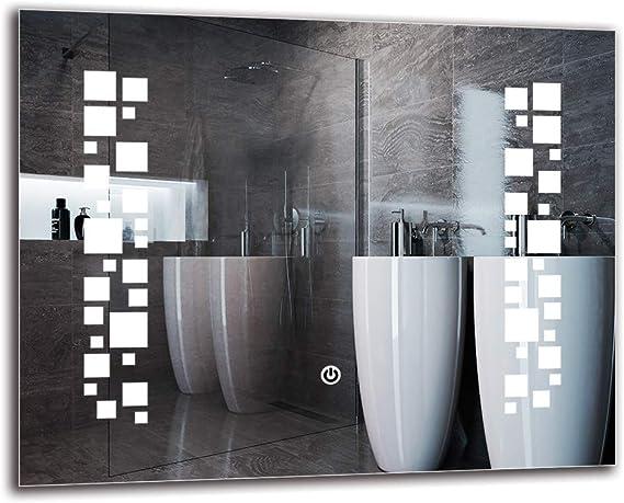 Espejo LED Deluxe - Dimensiones del Espejo 50x40 cm - Interruptor ...