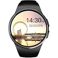 Kingwear KW18 Bluetooth Touch Screen Smartwatch with SIM/TF Card & Heart Rate Pedometer - Black