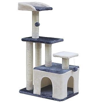 Wellhome Árboles para Gatos Rascador para Gato Escalador para Gatos Juguete de Sisal con Bola 100cm