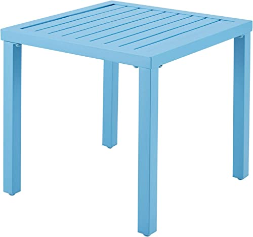VICLLAX Outdoor Side End Table Metal Square Bistro Patio Coffee Table,Blue