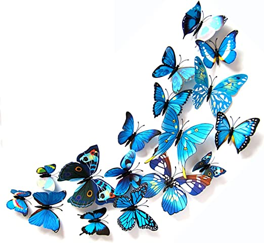 12pcs 3D Butterfly Wall Stickers Mirrored Room Sticker Bedroom Decor Girls MH