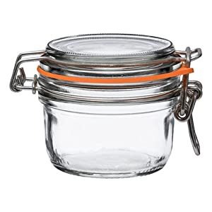 6 Le Parfait Super Terrines - New Stainless Steel Wire - Wide Mouth French Glass Preserving Jars with Straight Bodies, Glass Lids and Natural Rubber Seals (6, 125ml - 4oz - SS)