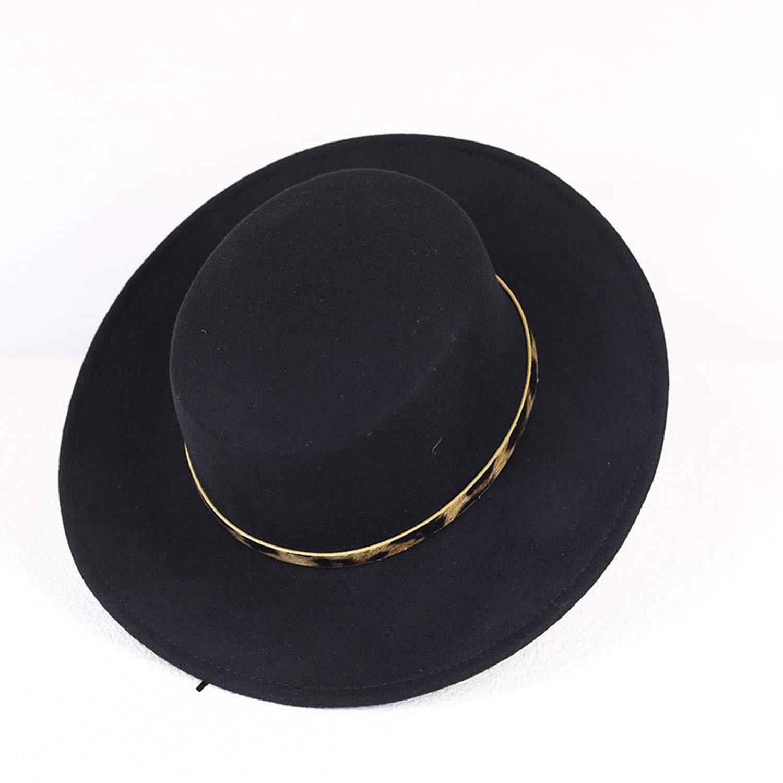 Black Fedora Hats for Men Pure Wool Large Brim Winter Mens Pork Pie hat Leopard Band Fedoras for Men