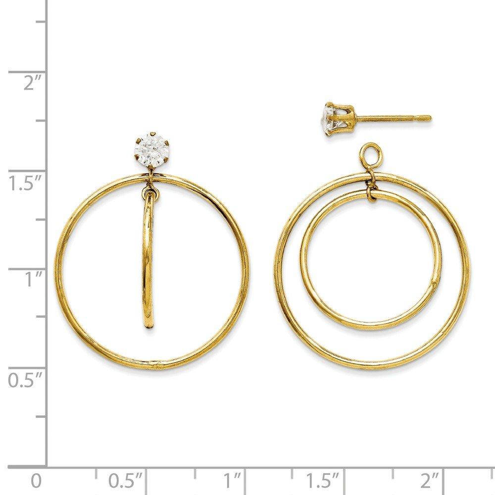 14k Yellow Gold Double Hoop Round Cubic Zirconia Earring Jackets
