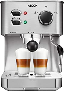 AICOK Espresso Machine, Cappuccino Coffee Maker with Milk Steamer Frother, 15 Bar Pump Latte and Moka Machine, Stainless Steel, Warm Top for Cup Placing, 1050W