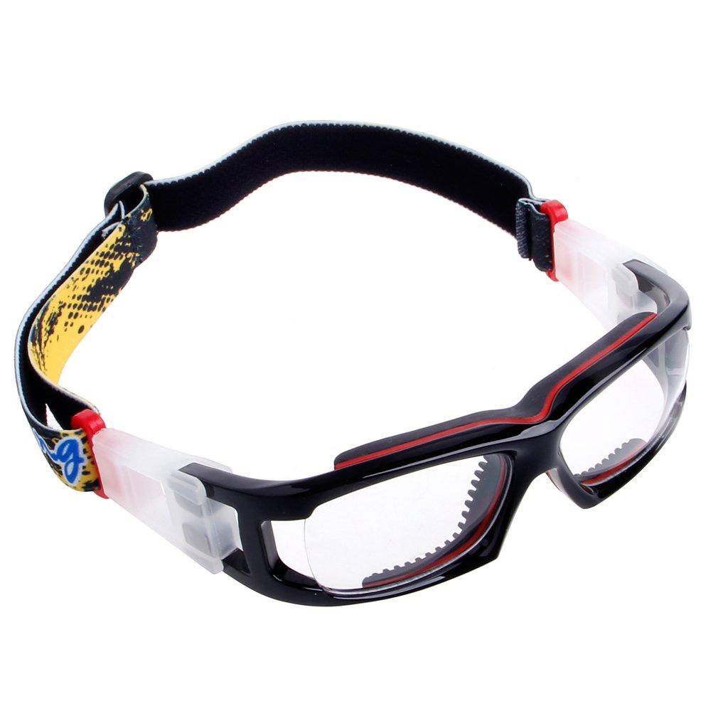 Hacloser スポーツ保護ゴーグル バスケットボール フットボール サイクリング 安全 PC アウトドアグラス  ブラック+レッド B07B93W52X