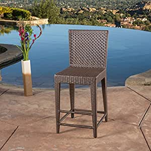 Wicker Bar Stool with Wicker and Iron, Sturdy Construction, Neutral Colors to Match any Outdoor Decor, Ideal for Extra Seating in Your Backyard Area