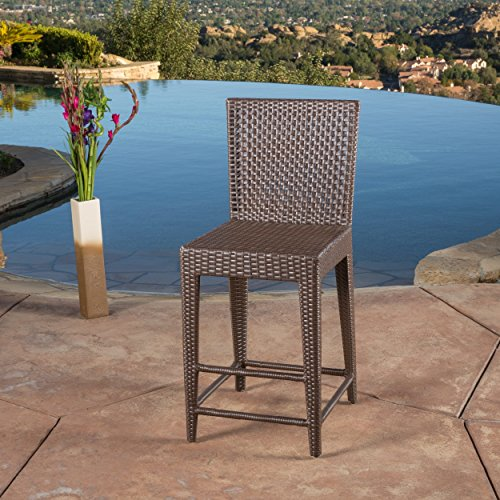 SUPERNOVA WAREHOUSE LLC Contemporary Brown Bar Stool with Sturdy Construction, Made from Woven PE Wicker with Strong Iron Frame, Ideal for Extra Seating in Your Backyard Area (Area Seating Backyard)