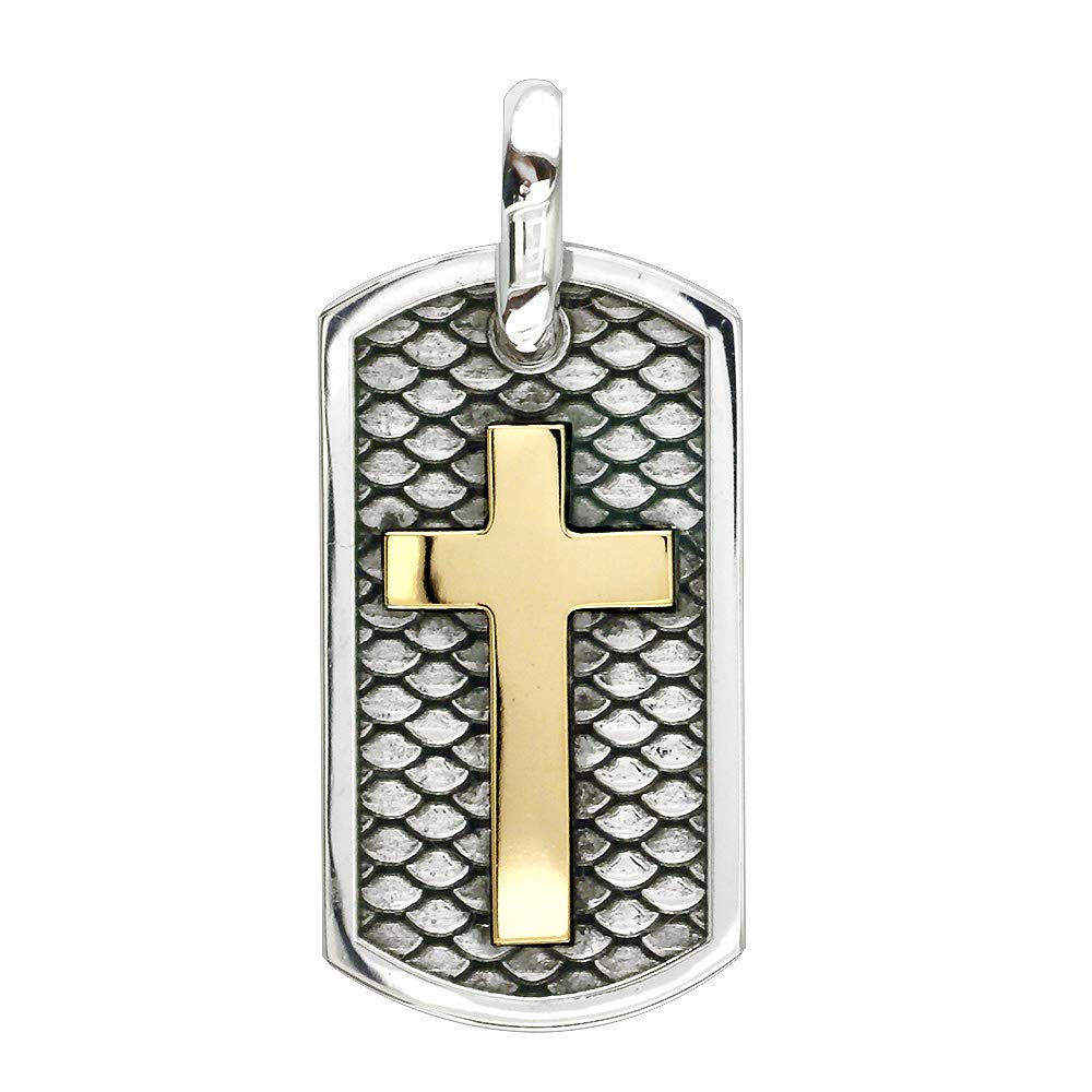 31mm Hardcore Metal Snake Skin Cross Pendant Dog Tag in 14K White and Yellow Gold