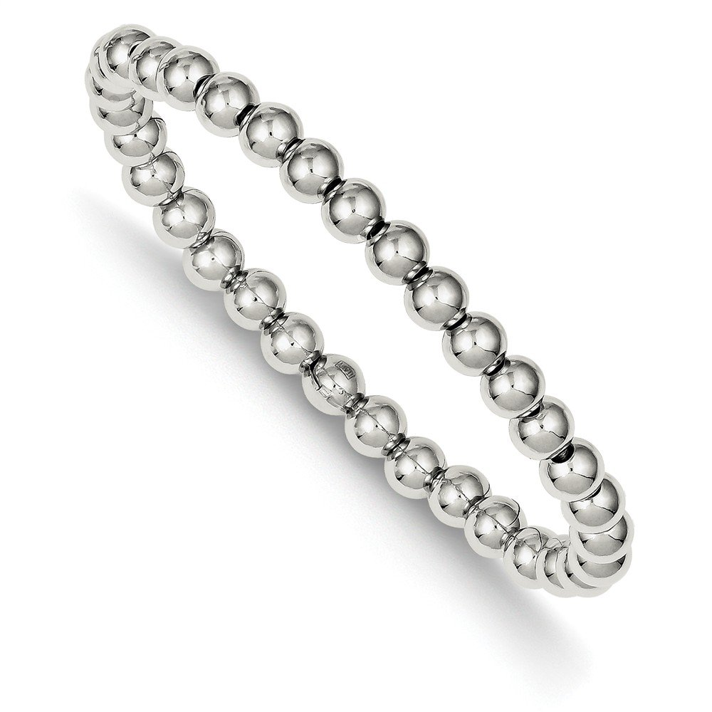 Top 10 Jewelry Gift Sterling Silver Polished Bead Stretch Bracelet