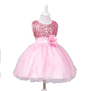 d170ca2aef ZAHB Sequin Mesh Flower Party Wedding Gown Bridesmaid Tulle Dress Little  Baby Girl(B/