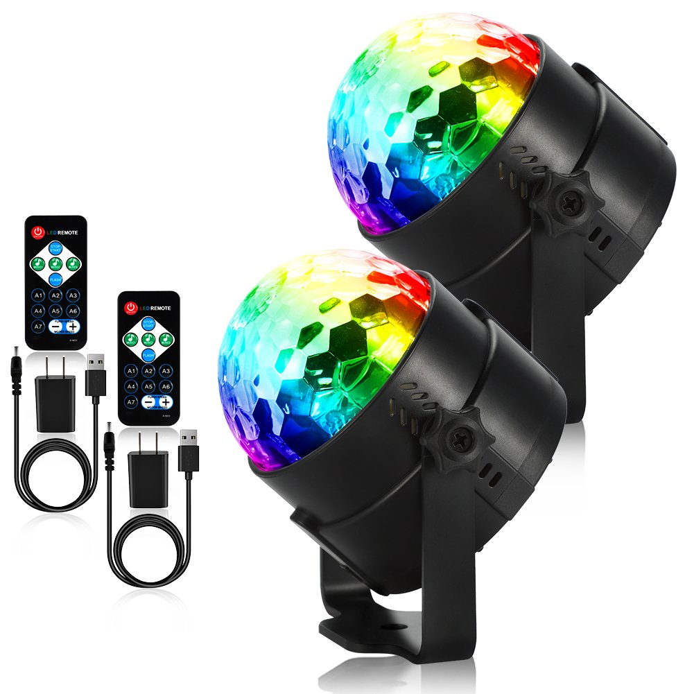 Litake USB Party Lights Disco Ball Strobe Light Disco Lights, 7 Colors Sound Activated Stage Light with Remote Control for Festival Bar Club Party Wedding Show Home-2 Pack