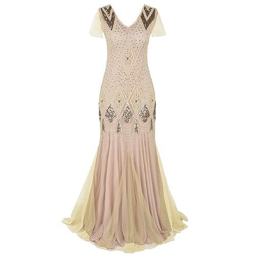 kayamiya Women 1920 Prom Gowns Sleeves Long Mermaid Formal Evening Dress