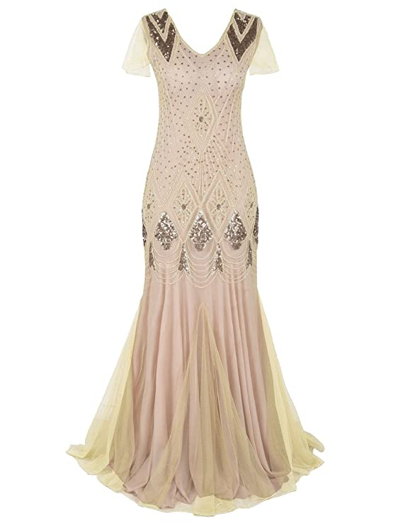 kayamiya Women 1920s Long Prom Gown Beaded Sequin Art Deco Formal ...