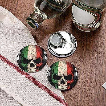 Abrebotellas, abridor de botellas de refresco de cerveza con calavera de Dj italiano, imanes magnéticos para nevera, sacacorchos, 2 piezas