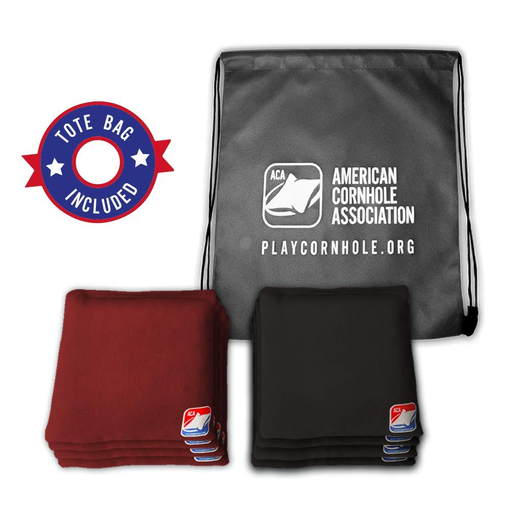 Official Cornhole Bags from The American Cornhole Association - 6'' Double-Stitched Corn-Filled Bean Bags for Corn Hole Outdoor Game - Regulation Size - Burgundy & Black