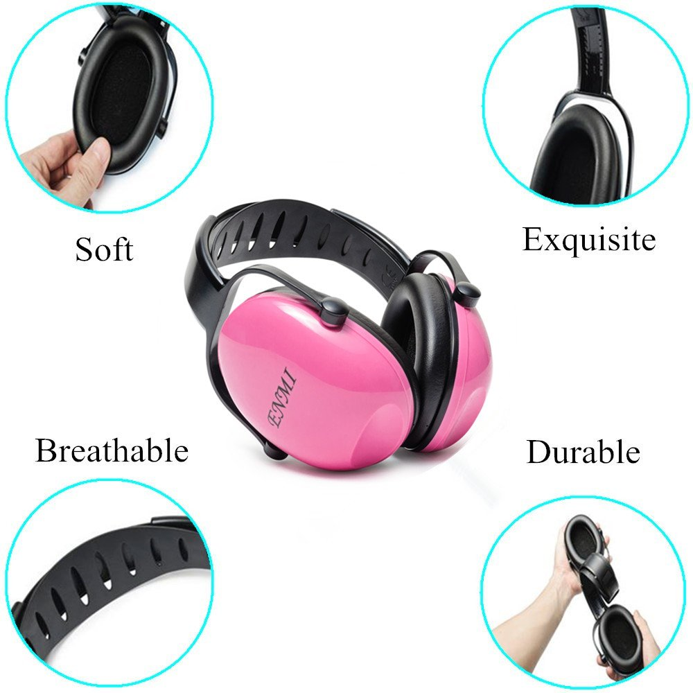 Enmi Baby Ear Defender Hearing Protection Earmuffs Noise Reduction, 3 months+, Blue, Comfortable for Travelling ,Leaning, Rest (pink)