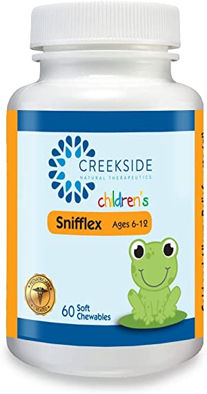 Creekside Naturals Snifflex 6-12, Cold and Allergy Relief for Children, with Elderberry for Immune Support, Pediatrician Formulated, with Quercetin and NAC, Zero Sugar, Vegan, 60 Soft Chewables