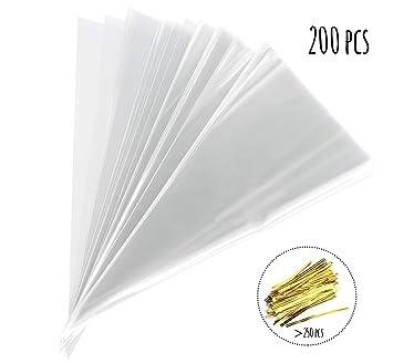 Absofine - 200 Bolsas Transparentes de plástico con Cinta ...