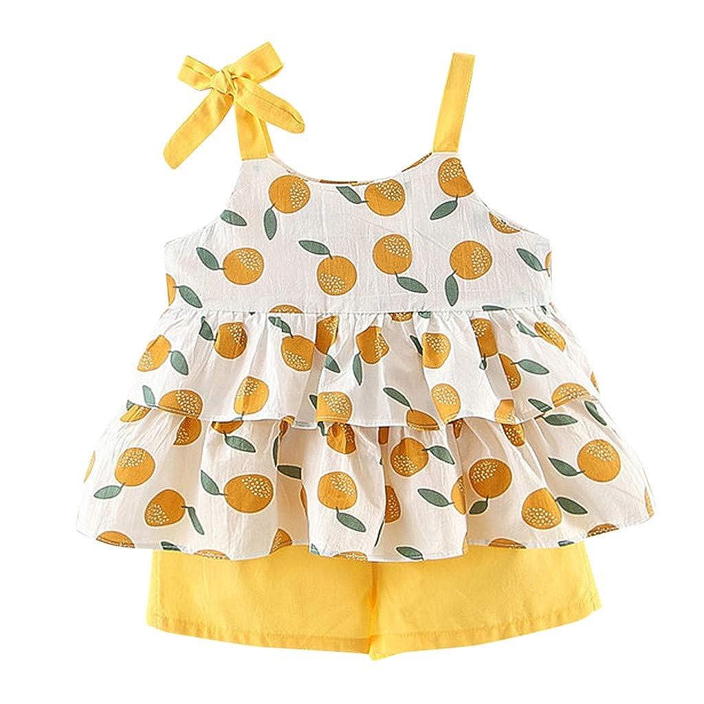 Generic JERFER Baby Maedchen Set Kleidung Kleinkind R/üschenriemen Obst Print Tops Shorts 2PC Outfits Sets