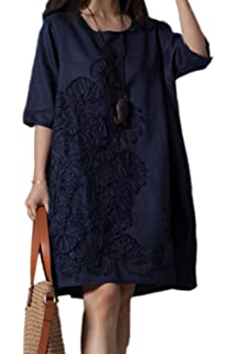 f31fcfad359 Women Tunic Dress Plus Size Vintage Round Neck Embroidered Cotton Linen  Dresses